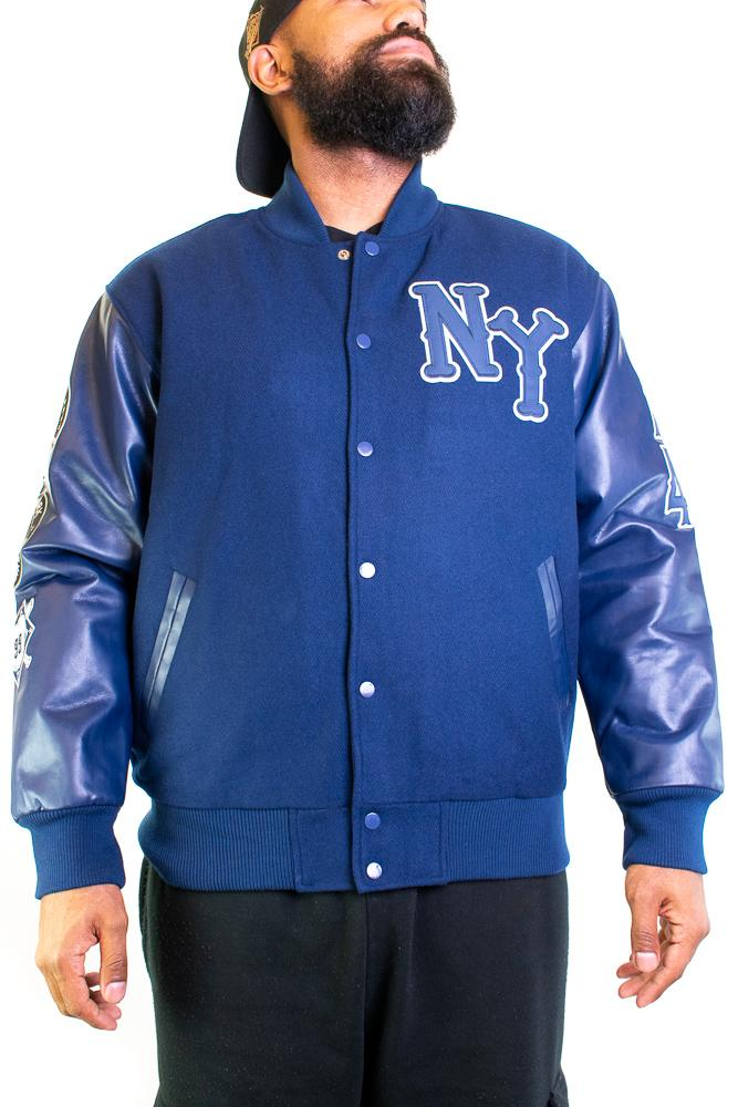 NEW YORK BLACK YANKEES NAVY BLUE VARSITY JACKET - shopallstarsports.com