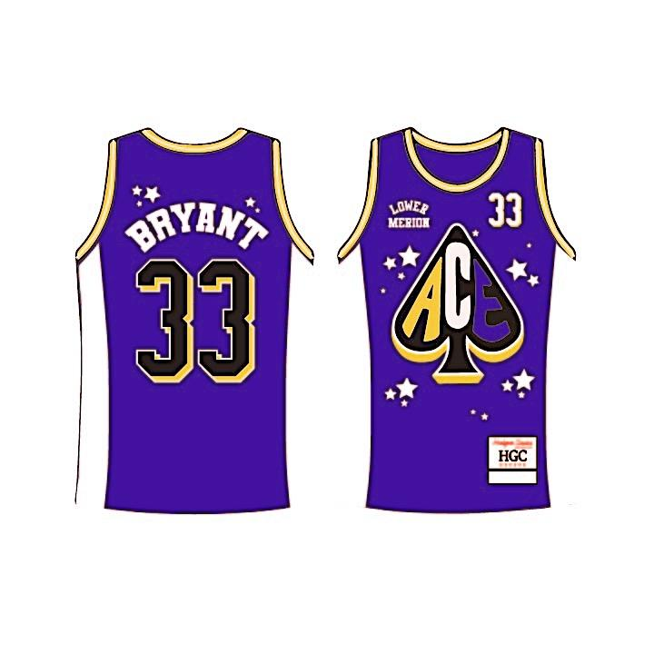 Kobe Bryant  Lower Merion Alternate Purple Aces High School Basketball Jersey - shopallstarsports.com