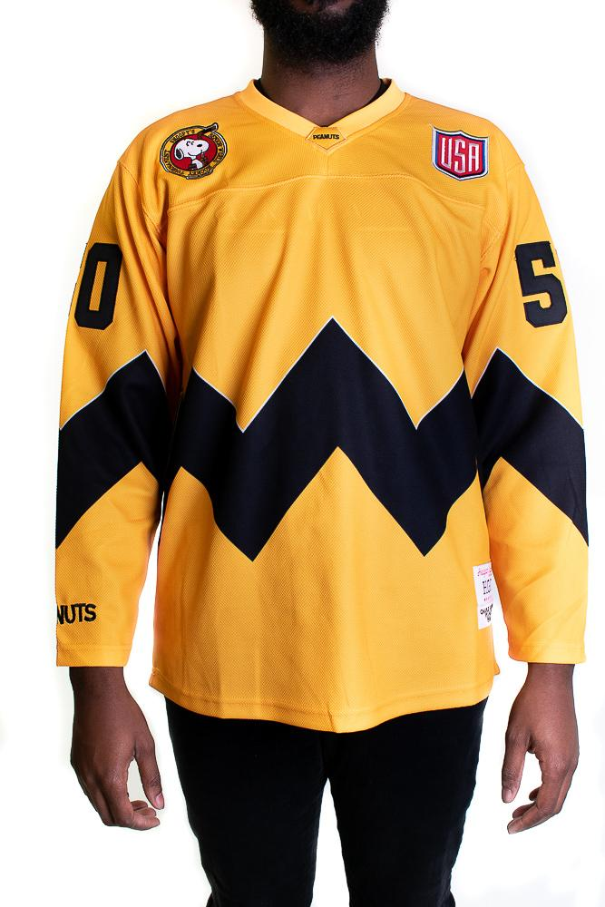 Charlie Brown Peanuts Yellow Hockey Jersey - shopallstarsports.com