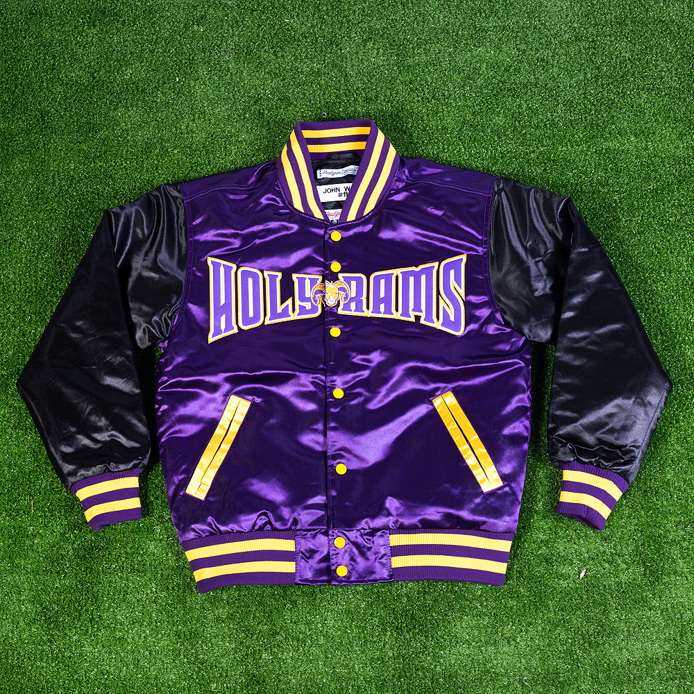 JOHN WALL HOLY RAMS PURPLE SATIN JACKET