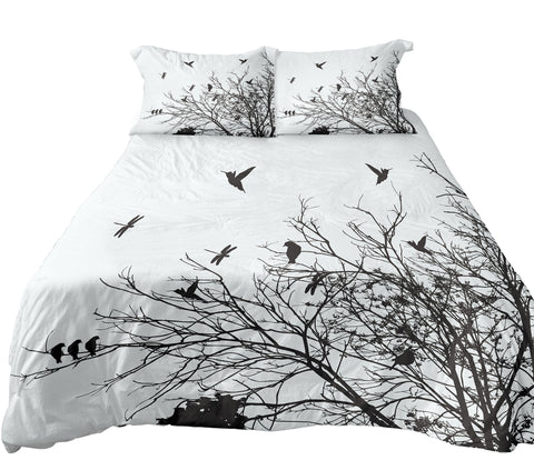 Winter Forest Tree Silhouette With Flying Birds Bedding, Double Sides Printed, 3 Pieces