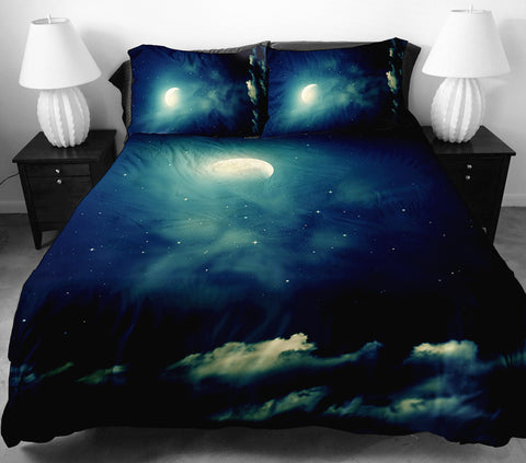 Anoleu Printed Moon and Cloud Duvet cover 2 Matching Pillow Covers