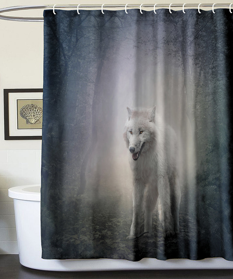 Anoleu Wolf In The Forest Shower Curtain