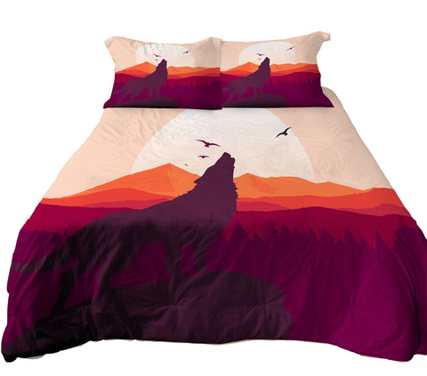 Reversible Sunset Wolf Bedding, Wolf Stand On Mountain Duvet Cover Set