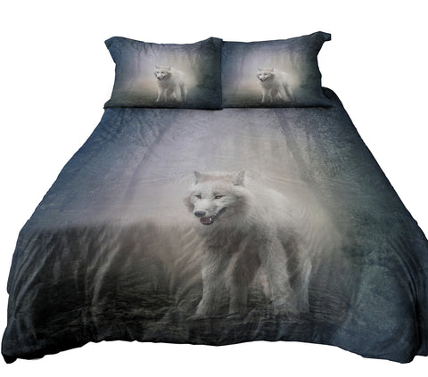 Reversible Design Bedding, Wolf in Misty Forest and Roaring Polar Bear Duvet Cover Set