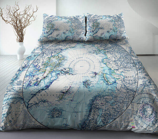 Blue Cotton Ancient World Map Bedding Sets World Map Duvet Cover