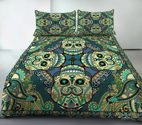 Anoleu Green Cotton Printed Skull Duvet/Comforter Cover Set 3 Pieces-When Boho Met Skull-Green