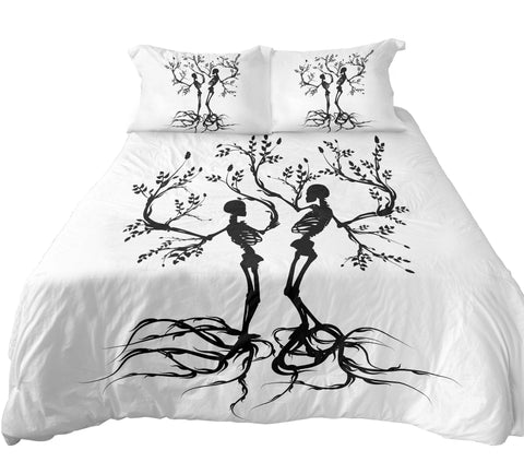 Black and white couple skull tree bedding