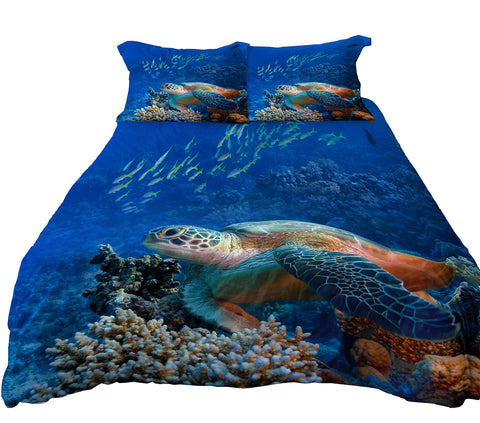 Anoleu Microfiber Reversible Bedding Sets, Printed Sea Turtle Bedding Sets, Reverse Dolphin Bedding, Twin Bedding for Boys or Girls, 3 Pieces