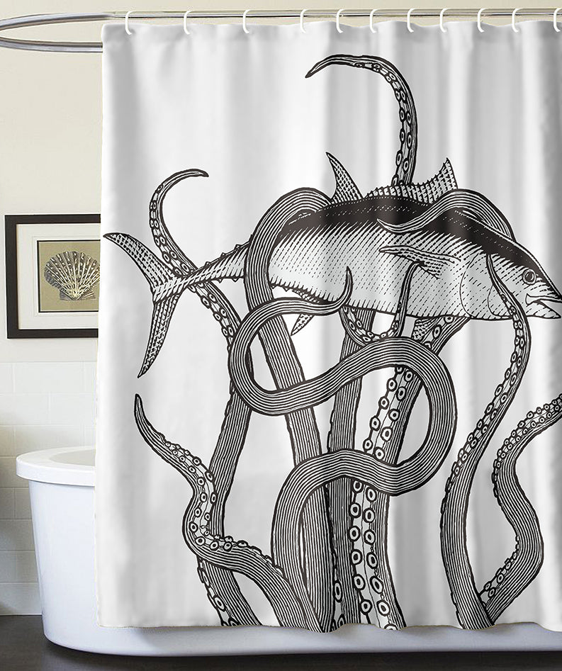 Black And White Octopus Catching A Fish Design Shower Curtain