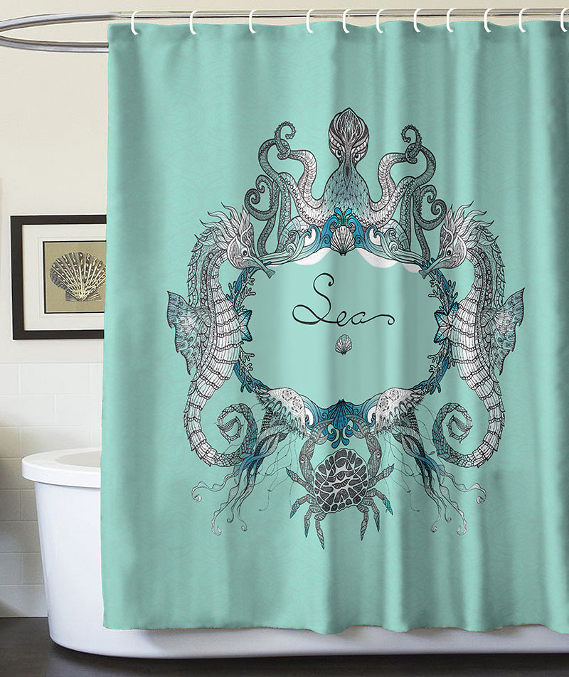 Anoleu Turquoise Octopus Seahorses Jellyfish And Crab Shower Curtain