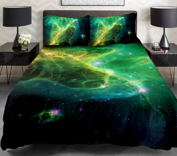 Lime Green Galaxy Bedding Set Lime Green Galaxy Duvet