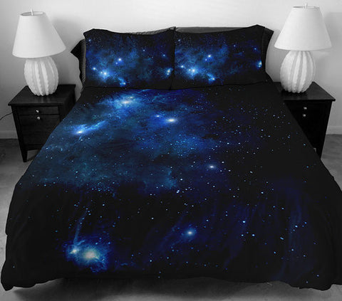 Blue galaxy bedding