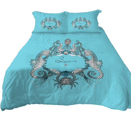 Medium Turquoise Sea Life Bedding Octopus Sea Horse Cab Duvet Cover Set Reversible