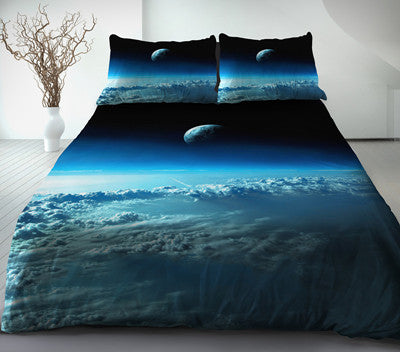 Blue Moon Bedding Cotton Cloud And Moon Duvet Cover Set