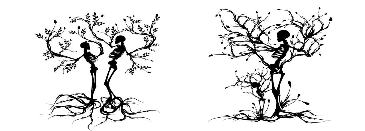 Black and White Couple Skull Tree Branch Bedding