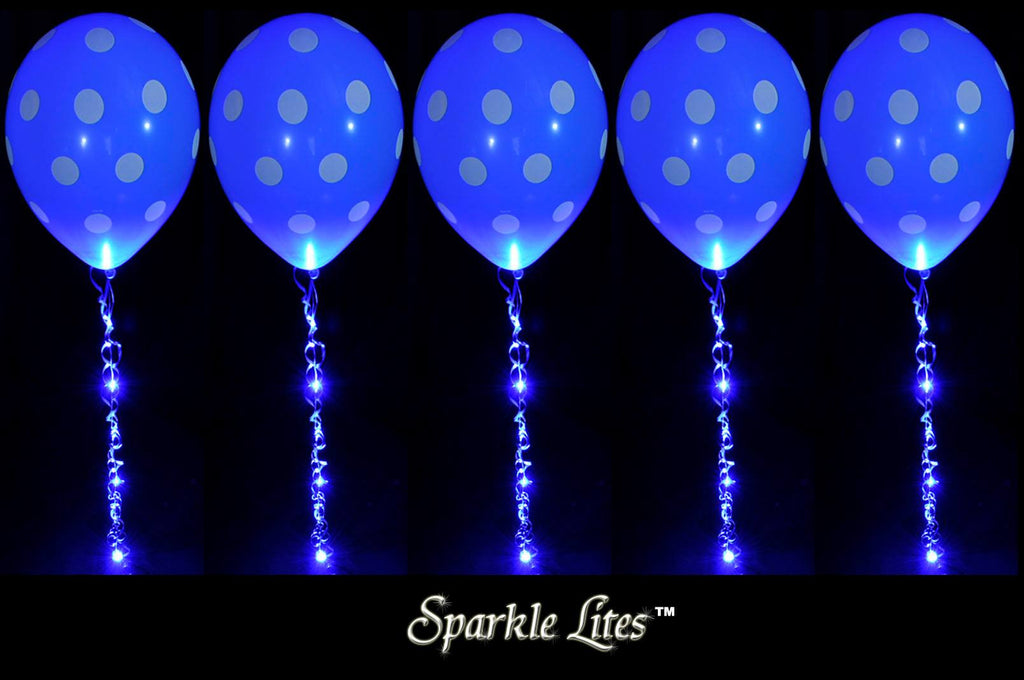 Blue Sparkle Walkers made with Sparkle Ribbon on Blue Polka Dot balloons