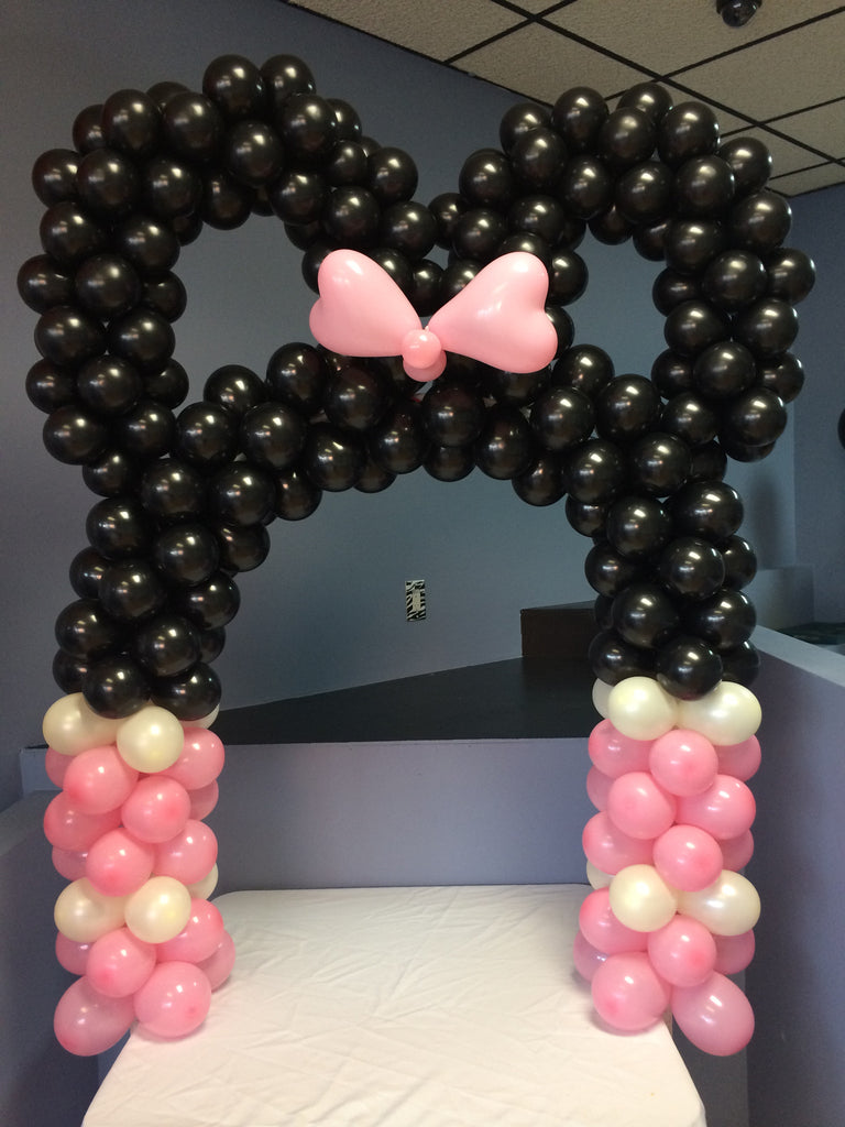 Light Pink and Black Minnie Mouse Arch DIY kit.