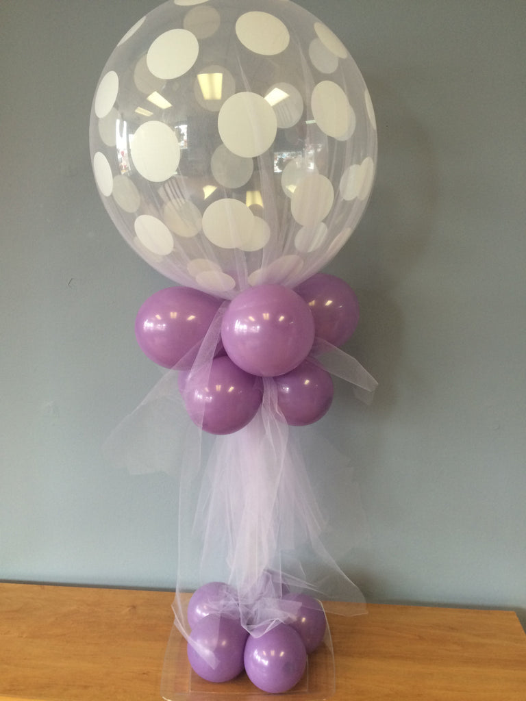 Tulle covered polka dot balloon centerpiece kit party