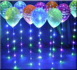 "SHOWN IN MULTI AND ""WALKING"" ON 11 INCH LATEX SPARKLE RIBBON 6 led lights with curling ribbon is a great balloon light. It also works as a light in flowers, centerpieces, gel beads, vases, around roses, on name boards, candle boards and foam centerpieces for all occasions including weddings, bar mitzvahs, birthdays, quinces, proms, formals, homecoming dances and more.  Light chair bows, place settings, table settings, for elegant and formal occasions. Perfect in any dim lighting settings. Long lasting, reusable with replaceable batteries."