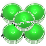 Water resistant green Party Dot, LED lights. Stick to posters, banners, balloon lights, centerpiece lighting and more. Good for parties and every day.