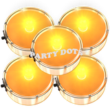 Orange Party Dots are peel and stick mini sticky lights that can be used as balloon lights, to light halloween decorations, posters and more