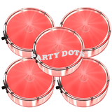Party Dots in retail packaging. Labeled Party Dots available. Red, blue, green, white, pink and orange peel and stick LED lights