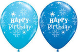 Robins Egg Blue and Dark Blue Sparkle Happy Birthday with balloon light