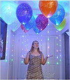 Jewel tone happy birthday sparkle floaters with sparkle ribbon balloon lights