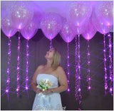Clear Just Married 16 inch Sparkle Floaters with Sparkle Ribbon Balloon Lights