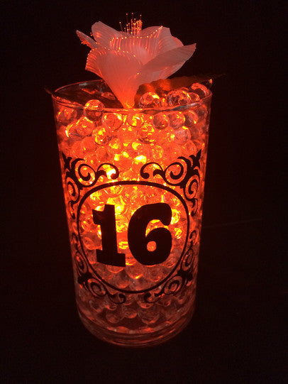 Custom vase with imprint, Light Up DIY centerpiece