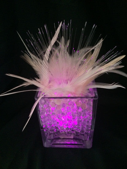 Light Up feather centerpice DIY kit.