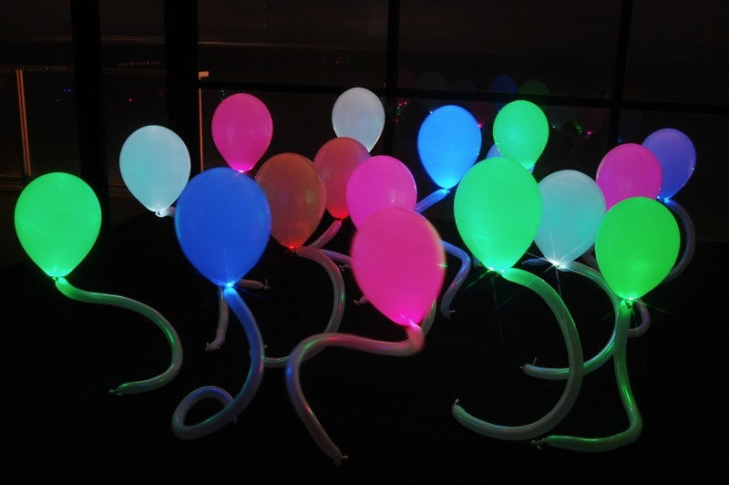 Party Dots as LED balloon lights for a neon or blacklight party
