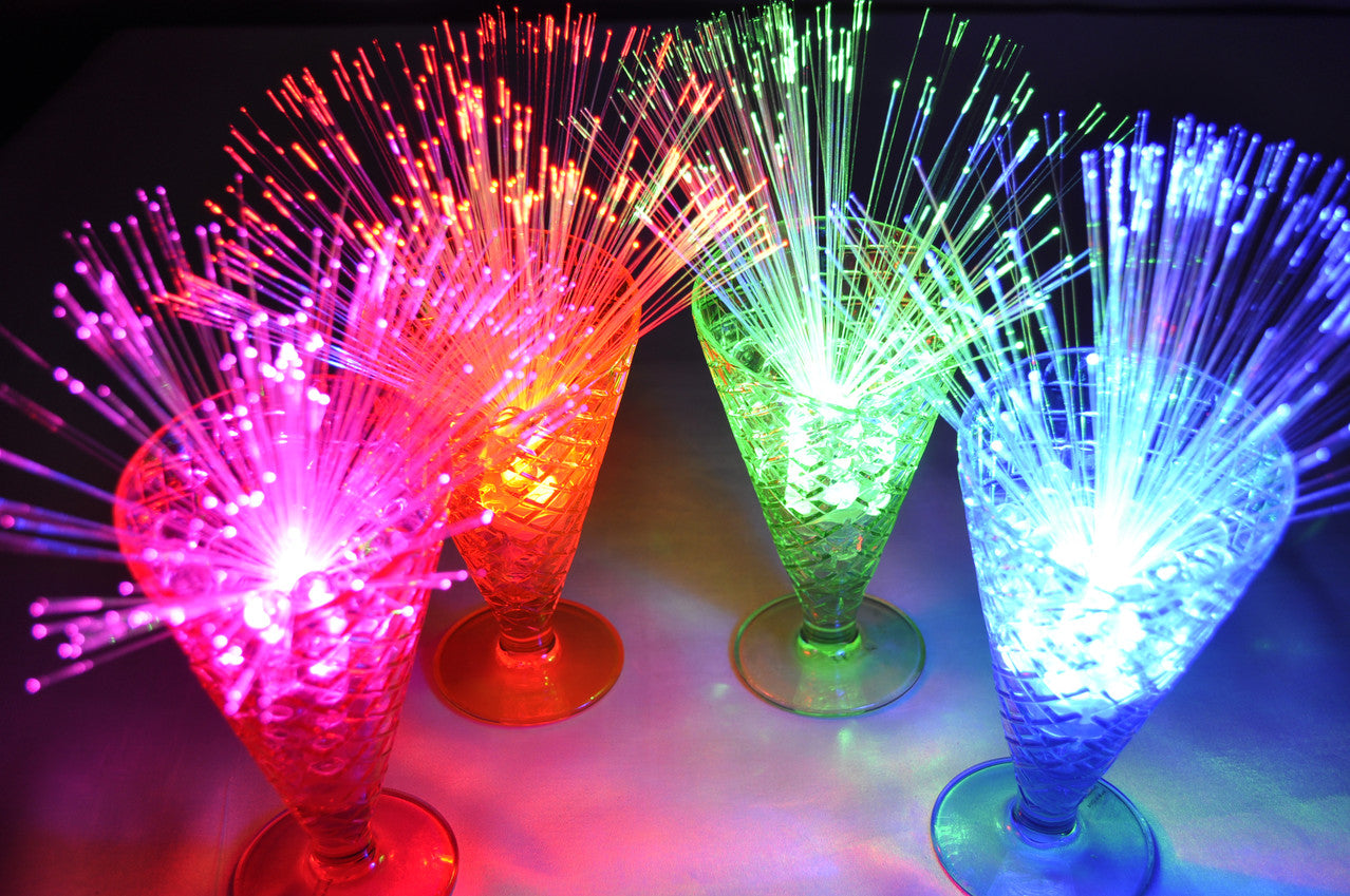 LED Sparkle Lites Fireworks in Parfait cups. Available in 6 colors plus slow color changing.