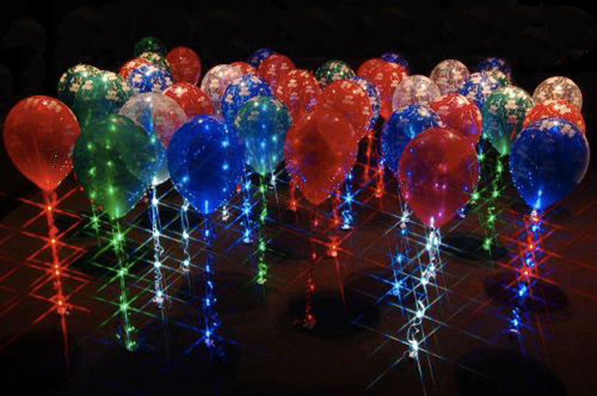 "Sparkle Walkers:Sparkle Ribbon LED balloon lights ""walk"" on  11 and 12 inch latex balloons"