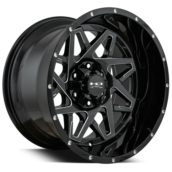 HD Off-Road Caliber Wheels | Gloss Black w Milled Spoke Edge