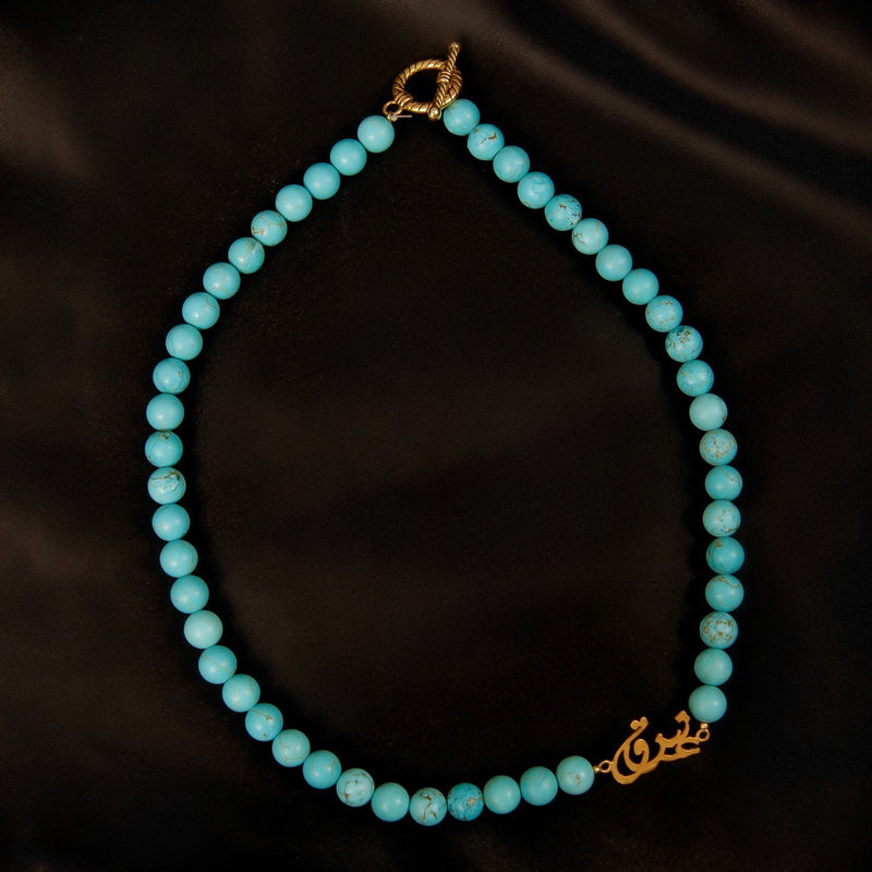 "Love ""Eshgeh"" Turquoise Necklace In Gold Plated Brass"