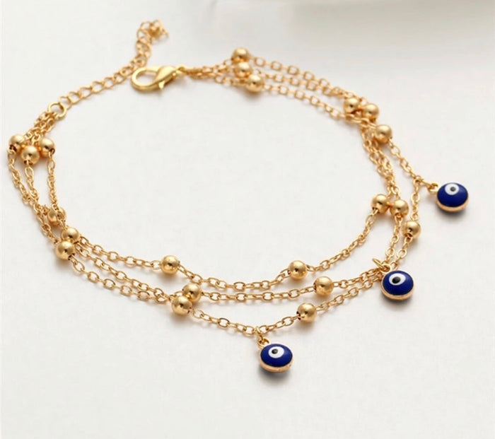 Evil Eye Multilayer Chain Ancklet.