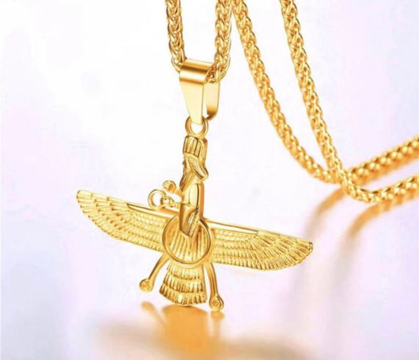Farvahar Ahura Mazda Gold Plated Necklace with Gold Plated 16 Inch Chain It's Also Available in Silver
