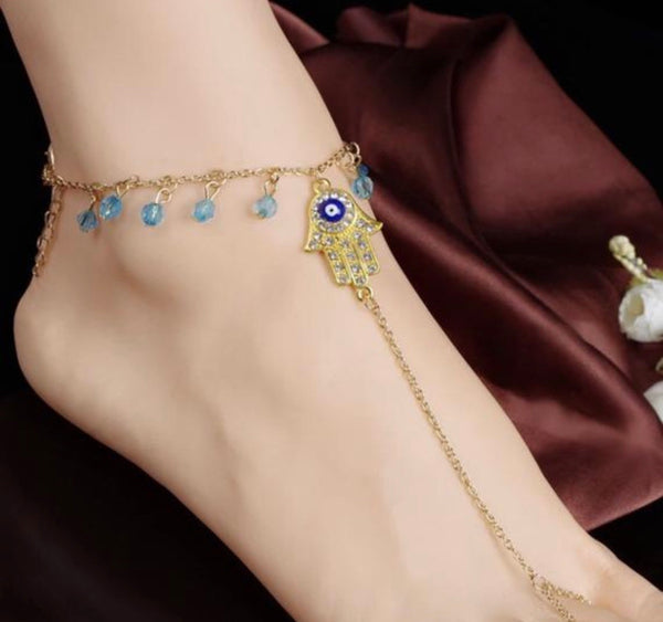 Hot Summer Sexy Anklet Crystal Tassel Anklet Hemsa Evil Eye Chain Jewelry