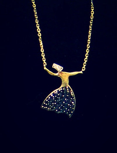 Sufi Dance Necklace with CZ Sapphires