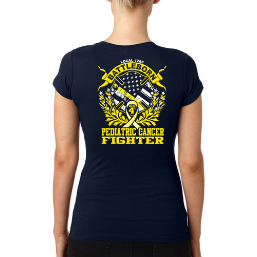 LVFR Ladies 50/50 Childhood Cancer Awareness Short Sleeve OFF Duty Tee 2018