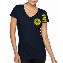 Load image into Gallery viewer, LVFR Ladies 50/50 Childhood Cancer Awareness Short Sleeve OFF Duty Tee 2018