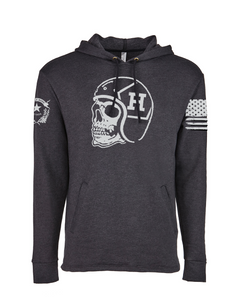 """H Skull Rider"" Ultra Comfort Hoodie - Heather Black"