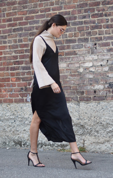 slip dress with sweater