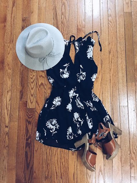 angel navy floral print romper by mod&soul