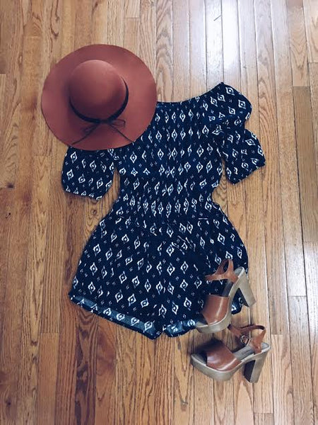 off shoulder navy print romper by mod&soul