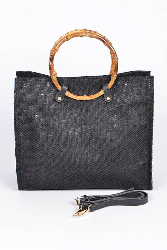 Wood Handle Bag - bag - MOD&SOUL - Contemporary Women's Clothing - MOD&SOUL