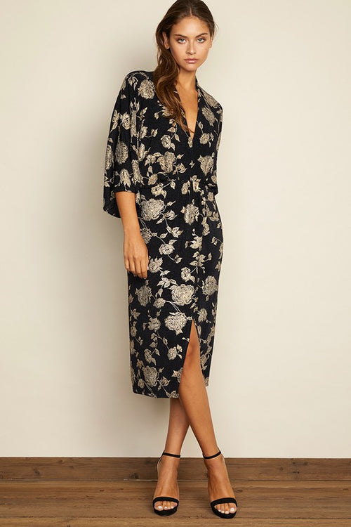 Floral Plunging Midi Dress - Dress - DRESS FORUM - MOD&SOUL