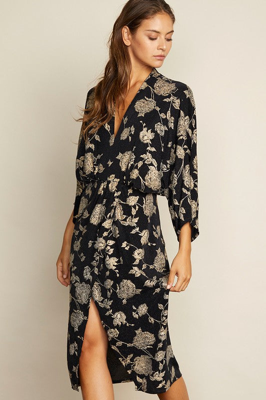Floral Plunging Midi Dress - MOD&SOUL - Contemporary Women's Clothing